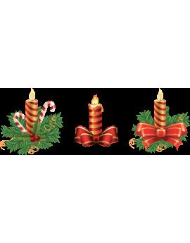 Kit 3 Stickers bougies noël