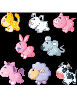 Kit 8 Stickers animaux enfant