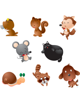 Kit 8 Stickers animaux