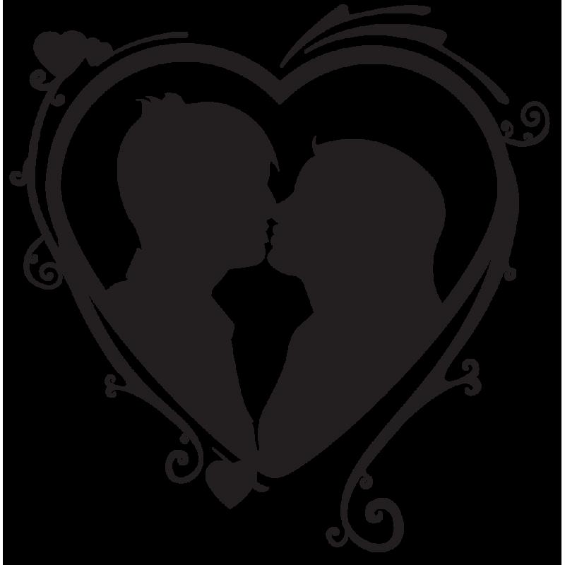 Sticker couple amoureux c ur color stickers - Dessin de coeur amoureux ...