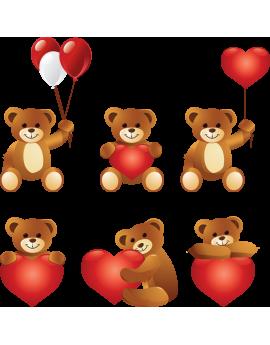 Kit 6 Stickers ourson cœurs et ballon