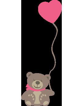 Sticker ourson ballon cœur