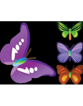 Kit 4 Stickers papillon