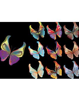 Kit 7 Stickers papillon