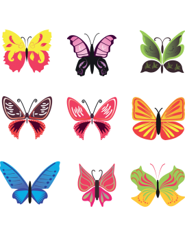 Kit 9 Stickers papillon