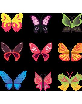 Kit 9 Stickers papillon