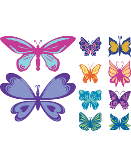 Kit 10 Stickers papillon