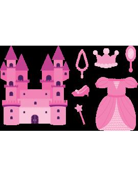 Kit 7 Stickers princesse château féérique