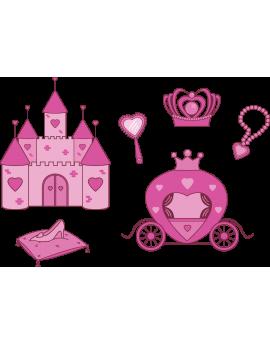 Kit 6 Stickers princesse château féérique