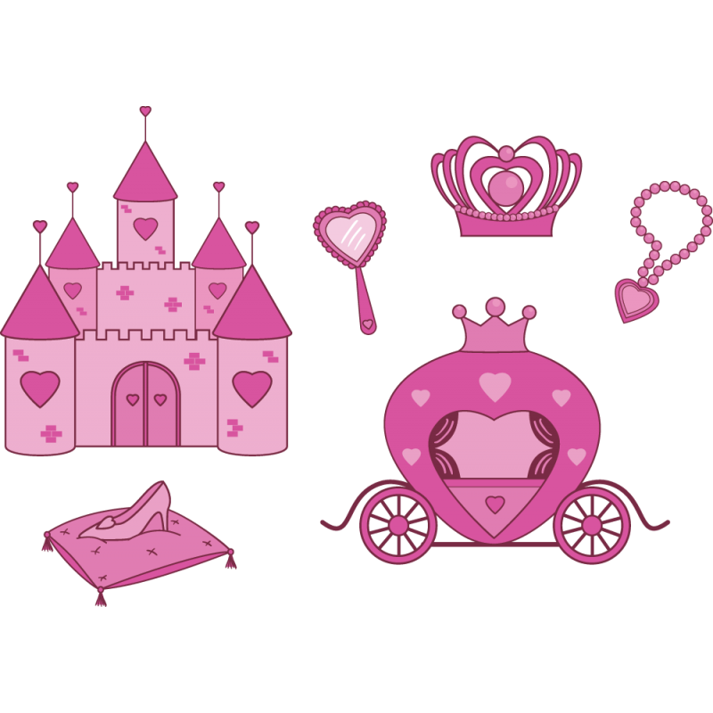Kit 6 stickers princesse ch teau f rique color stickers for Image chateau princesse