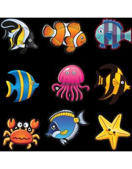 Kit 9 Stickers océan poissons