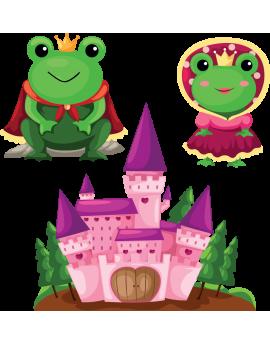 Kit 3 Stickers grenouilles princesse château