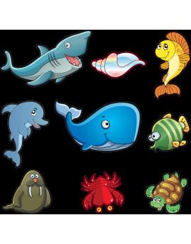 Kit 9 Stickers océan