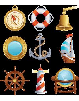 Kit 9 Stickers bâteau pirate
