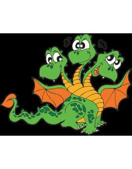 Sticker dragon à trois têtes