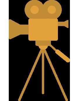Sticker caméra de cinéma or