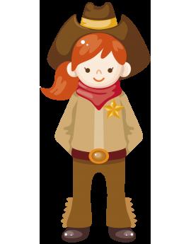 Sticker cowboy fille
