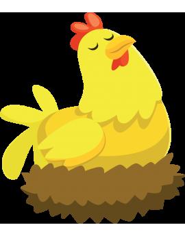 Sticker poule ferme