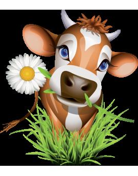 Sticker vache fleur ferme