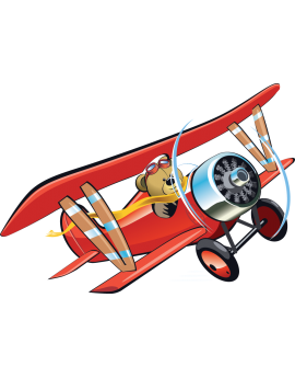 Sticker avion rouge ourson