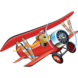Sticker avion rouge ourson