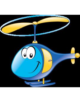 Sticker hélicoptère bleu
