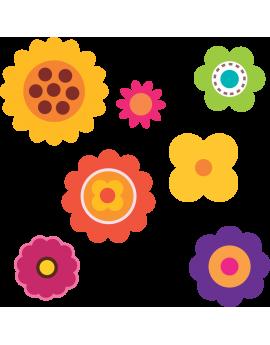 Kit 7 Stickers fleurs enfant