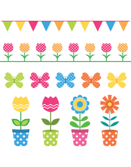 Kit 11 Stickers pot de fleur enfant