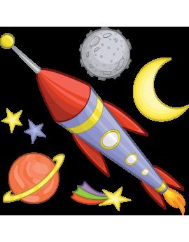 Kit 6 Stickers espace planète