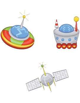 Kit 3 Stickers espace satélites