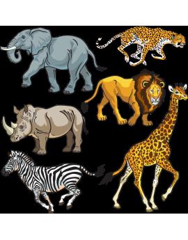 Kit 6 Stickers animaux sauvages d'Afrique