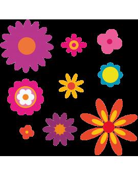 Kit 9 Stickers fleurs