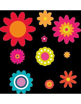 Kit 10 Stickers fleurs enfant