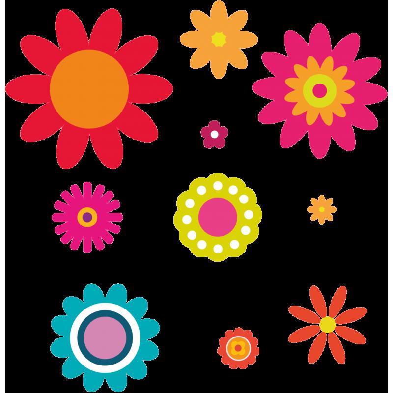 kit 10 stickers fleurs enfant color stickers. Black Bedroom Furniture Sets. Home Design Ideas