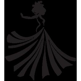 Sticker femme robe volante