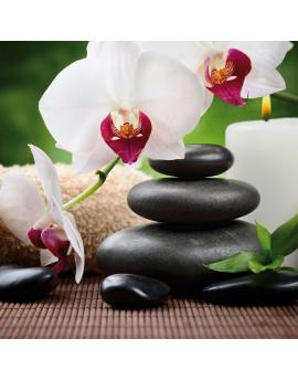 Tableau zen galets  fleurs