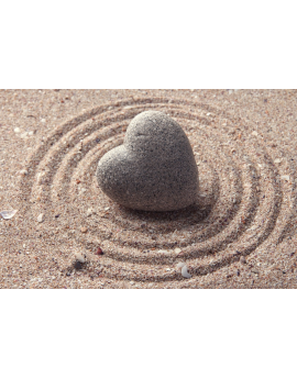 Tableau zen galet coeur sable