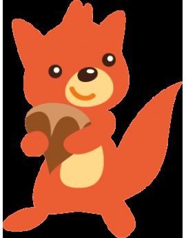 Sticker écureuil roux avec noisette