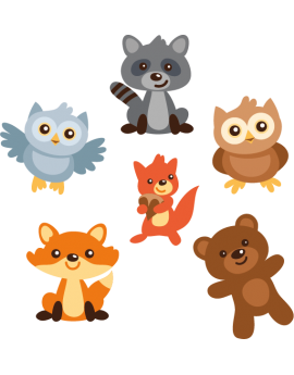 Kit 6 Stickers animaux enfant