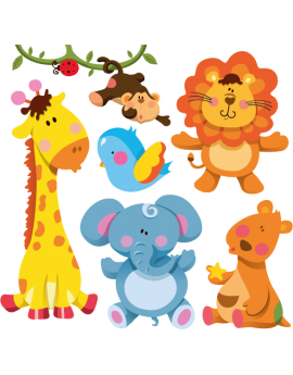 Kit 6 Stickers animaux de la jungle