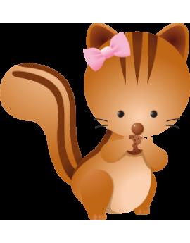 Sticker bébé écureuil fille nœud