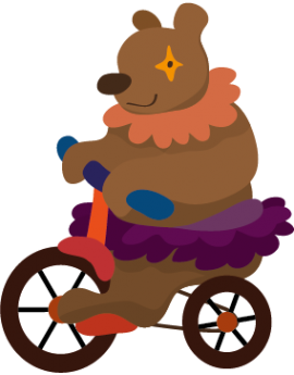 Sticker cirque ours sur vélo