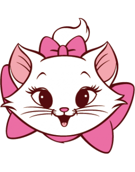 Sticker tête de chaton fille nœud rose