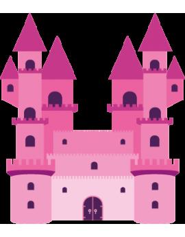 Sticker princesse château rose