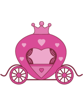 Sticker princesse carrosse rose