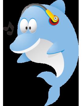 Sticker dauphin musique