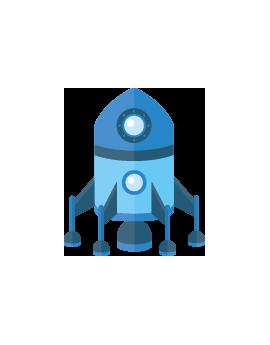 Sticker fusée bleue espace