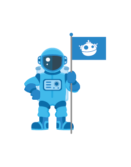 Sticker astronaute drapeau bleu espace
