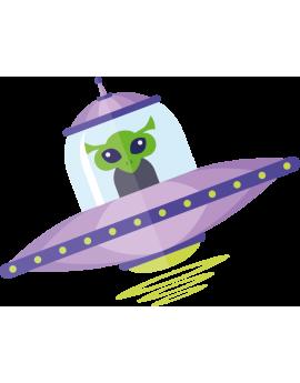 Sticker extraterrestre soucoupe volante espace