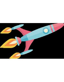 Sticker fusée flammes espace